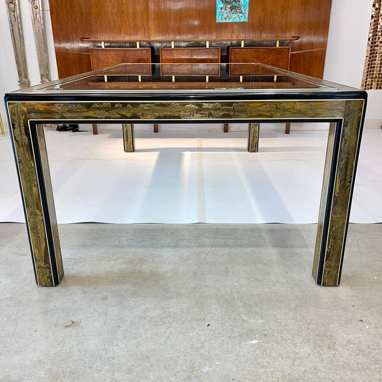 Bernhard Rohne for Mastercraft Acid Etched Brass Dining Table For Sale 8
