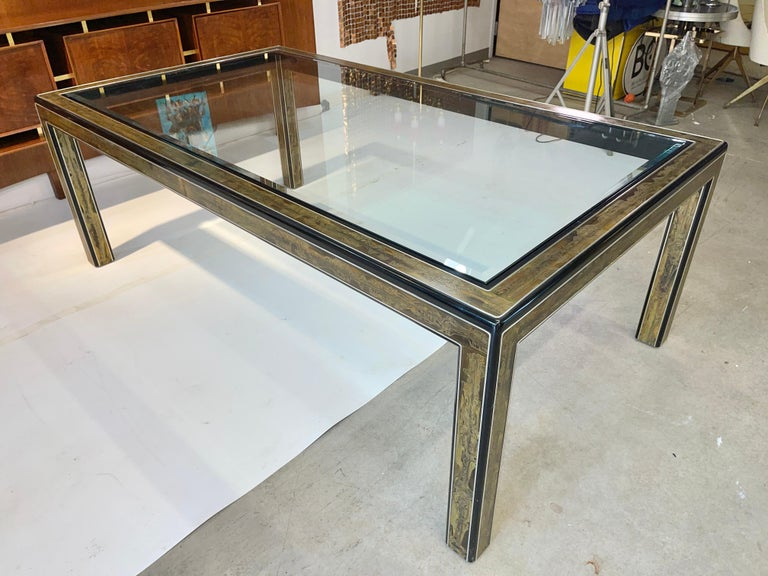 Bernhard Rohne for Mastercraft Acid Etched Brass Dining Table For Sale 9