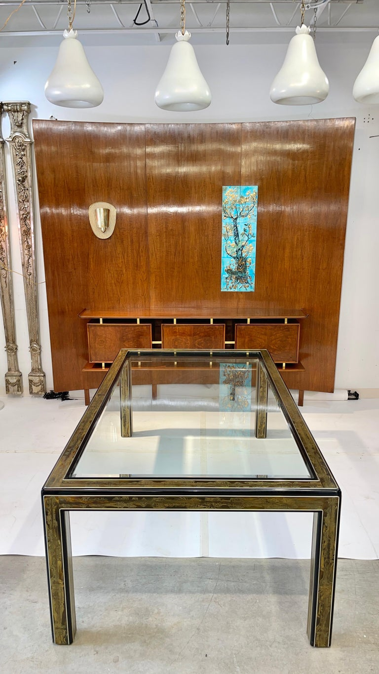 Bernhard Rohne for Mastercraft Acid Etched Brass Dining Table For Sale 11