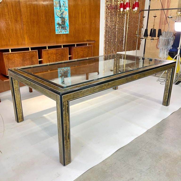 Bernhard Rohne for Mastercraft acid etched brass dining table. Measures: 84