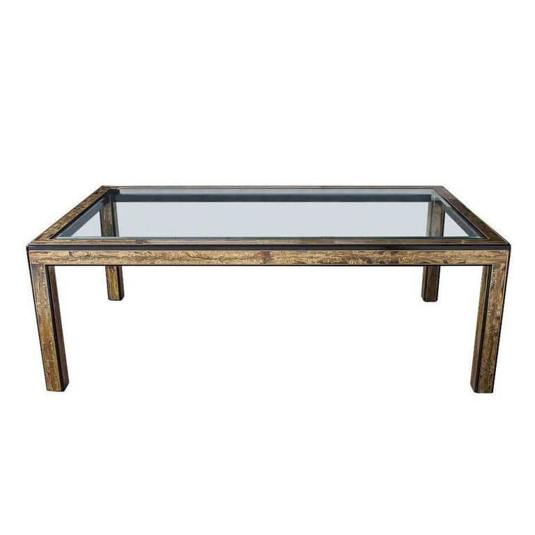 Bernhard Rohne for Mastercraft Acid Etched Brass Dining Table For Sale 13