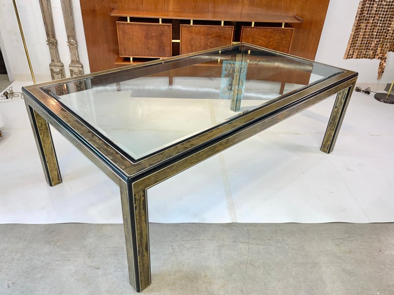 Mid-Century Modern Bernhard Rohne for Mastercraft Acid Etched Brass Dining Table For Sale