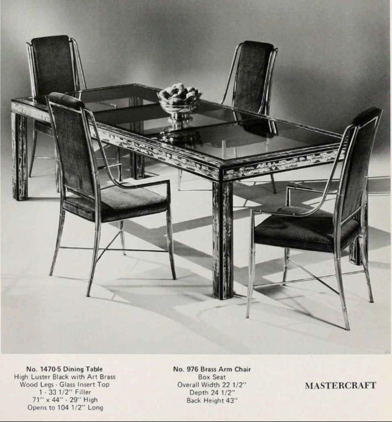 American Bernhard Rohne for Mastercraft Acid Etched Brass Dining Table For Sale