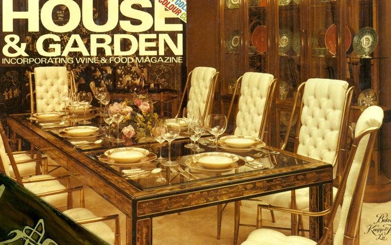 Beveled Bernhard Rohne for Mastercraft Acid Etched Brass Dining Table For Sale