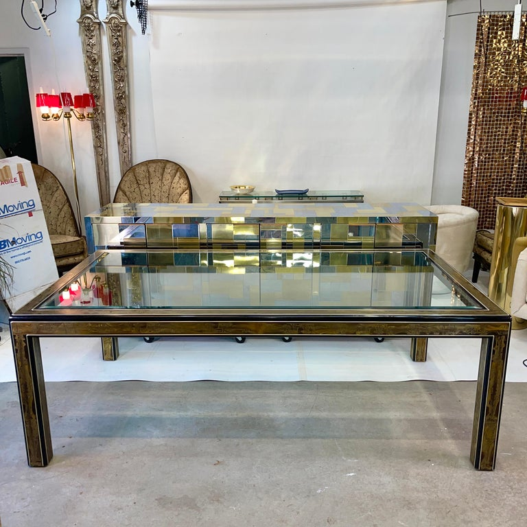 Bernhard Rohne for Mastercraft Acid Etched Brass Dining Table In Good Condition For Sale In Hingham, MA