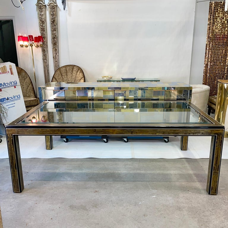 Late 20th Century Bernhard Rohne for Mastercraft Acid Etched Brass Dining Table For Sale