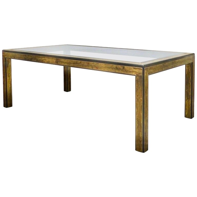 Bernhard Rohne for Mastercraft Acid Etched Brass Dining Table For Sale