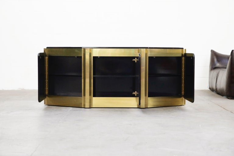 Modern Bernhard Rohne for Mastercraft Acid Etched Brass 'Tree of Life' Cabinet, 1970s For Sale