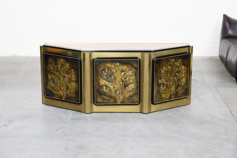 American Bernhard Rohne for Mastercraft Acid Etched Brass 'Tree of Life' Cabinet, 1970s For Sale