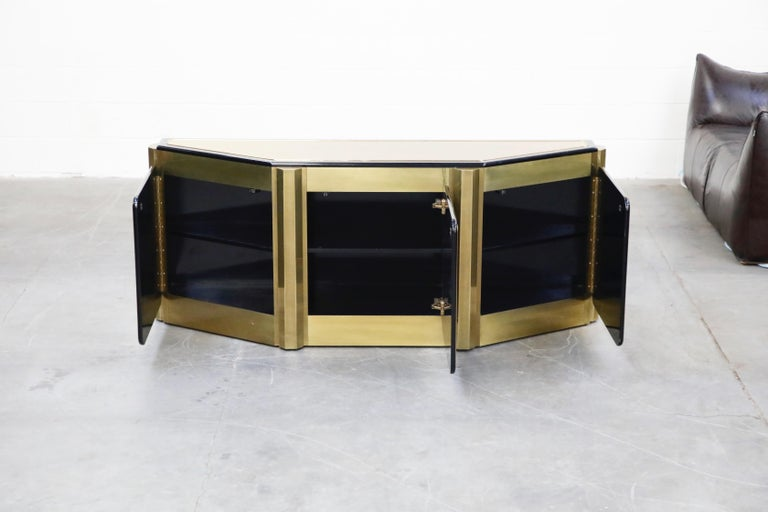 Bernhard Rohne for Mastercraft Acid Etched Brass 'Tree of Life' Cabinet, 1970s In Good Condition For Sale In Los Angeles, CA
