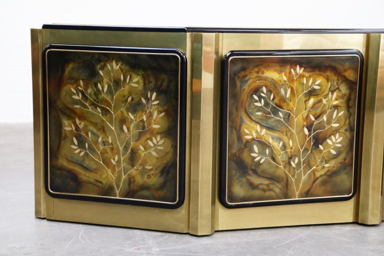 Bernhard Rohne for Mastercraft Acid Etched Brass 'Tree of Life' Cabinet, 1970s For Sale 1