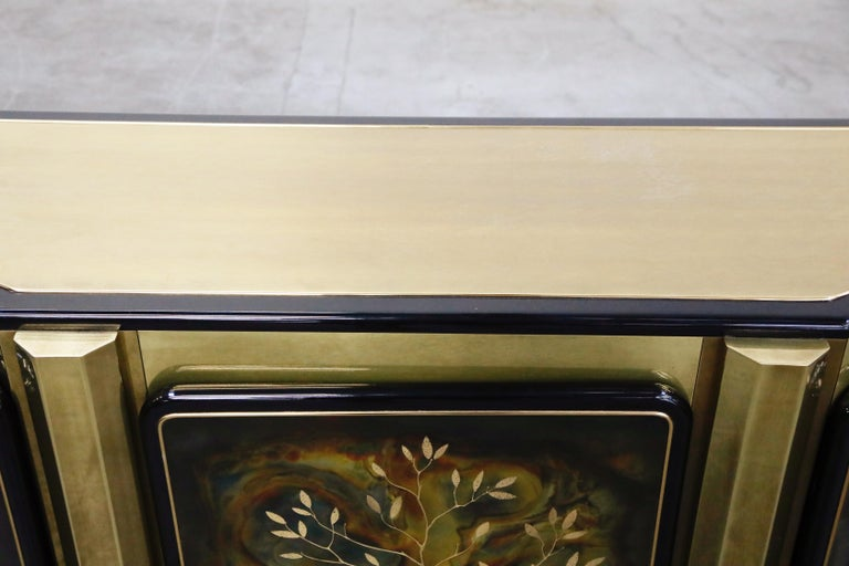 Bernhard Rohne for Mastercraft Acid Etched Brass 'Tree of Life' Cabinet, 1970s For Sale 10