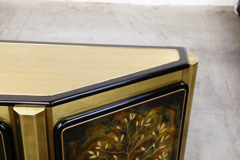 Bernhard Rohne for Mastercraft Acid Etched Brass 'Tree of Life' Cabinet, 1970s For Sale 11