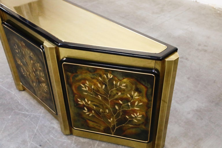 Bernhard Rohne for Mastercraft Acid Etched Brass 'Tree of Life' Cabinet, 1970s For Sale 3