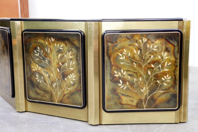 Bernhard Rohne for Mastercraft Acid Etched Brass 'Tree of Life' Cabinet, 1970s For Sale 2