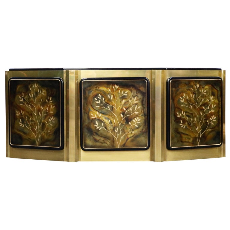 Bernhard Rohne for Mastercraft Acid Etched Brass 'Tree of Life' Cabinet, 1970s For Sale
