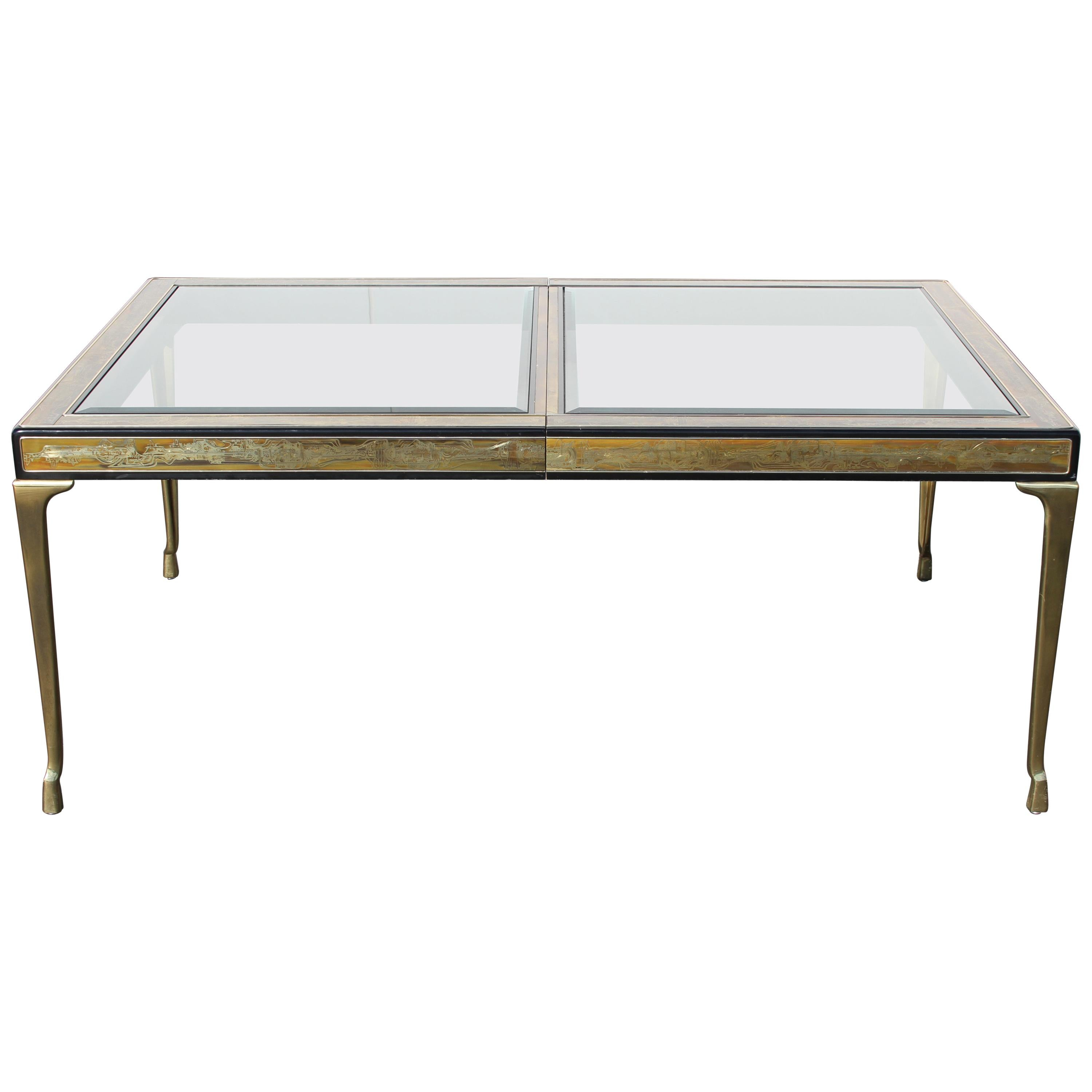 Bernhard Rohne for Mastercraft Acid-Etched Extension Dining Table, Extends