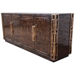 Bernhard Rohne for Mastercraft Brass and Burled Carpathian Sideboard Credenza