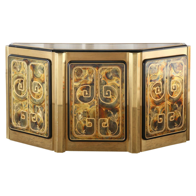 Bernhard Rohne for Mastercraft Brass Greek Key Cabinet Credenza