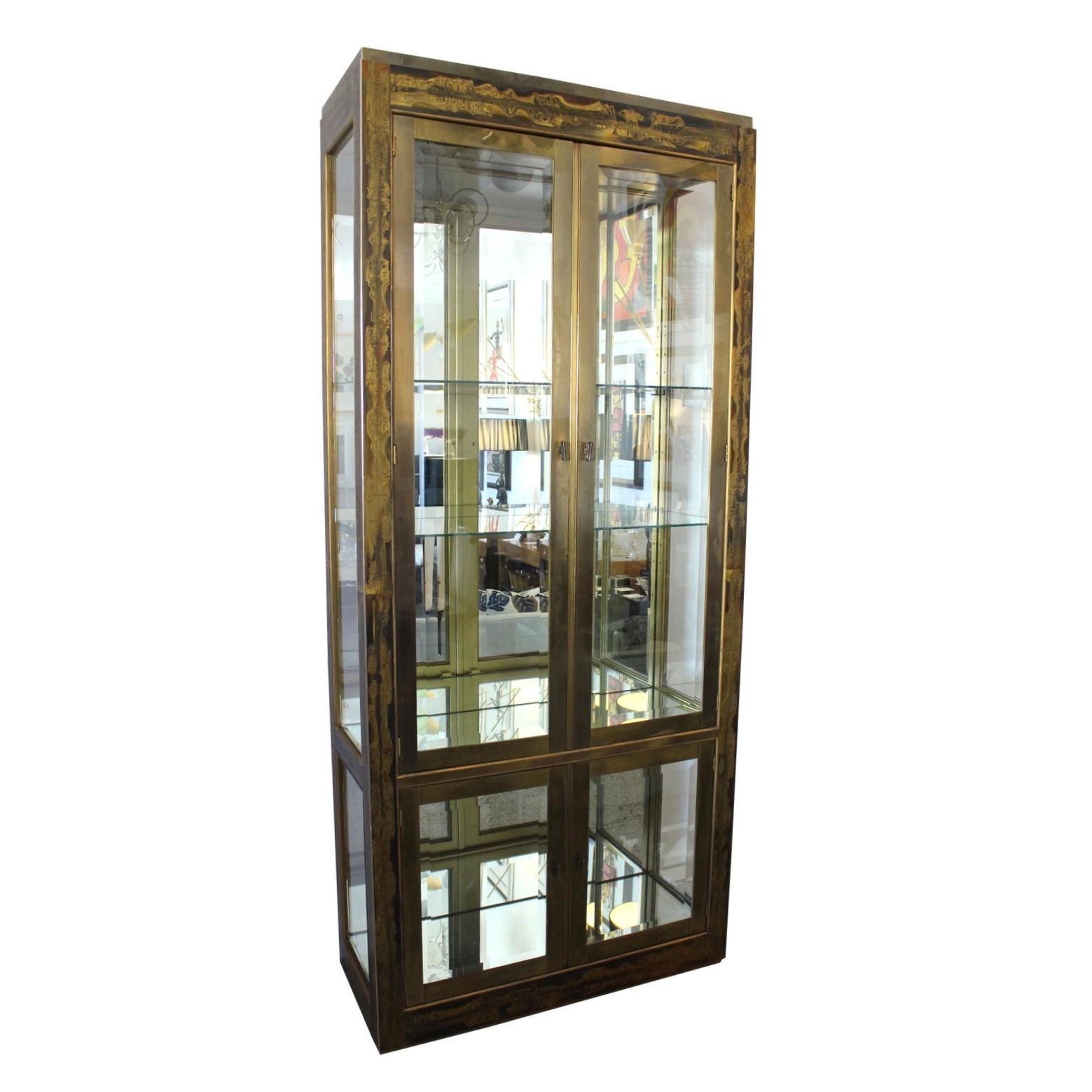Bernhard Rohne for Mastercraft Display Cabinet Anodized Aluminum Brass