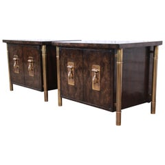 Bernhard Rohne for Mastercraft Hollywood Regency Brass and Burl Nightstands