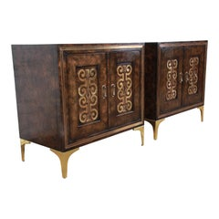 Bernhard Rohne for Mastercraft Hollywood Regency Burl and Brass Bedside Chests