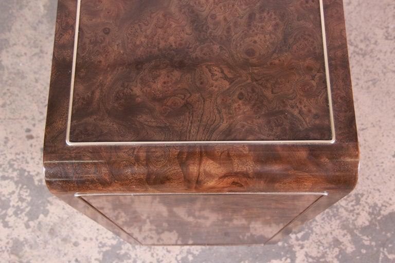 Bernhard Rohne for Mastercraft Hollywood Regency Burl Wood and Brass Bar Cabinet For Sale 4