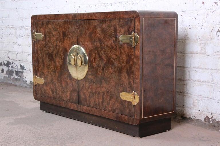 Mid-Century Modern Bernhard Rohne for Mastercraft Hollywood Regency Burl Wood and Brass Bar Cabinet For Sale