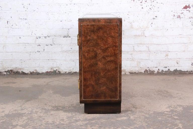 Bernhard Rohne for Mastercraft Hollywood Regency Burl Wood and Brass Bar Cabinet For Sale 3