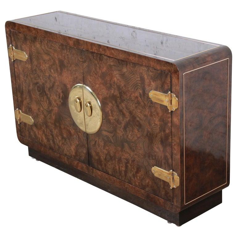 Bernhard Rohne for Mastercraft Hollywood Regency Burl Wood and Brass Bar Cabinet For Sale