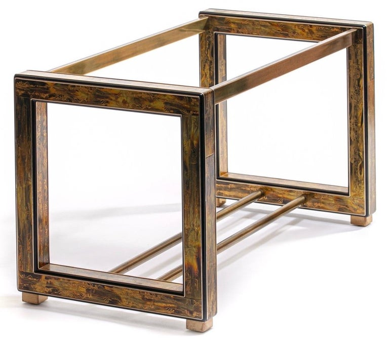 What makes this midcentury dining table exquisite is the synergy of Bernhard Rhone's Art and the Mastercraft construction. Brutalist midcentury Artist Bernhard Rhone – and his metal acid etched brass technique – created one of a kind panels that