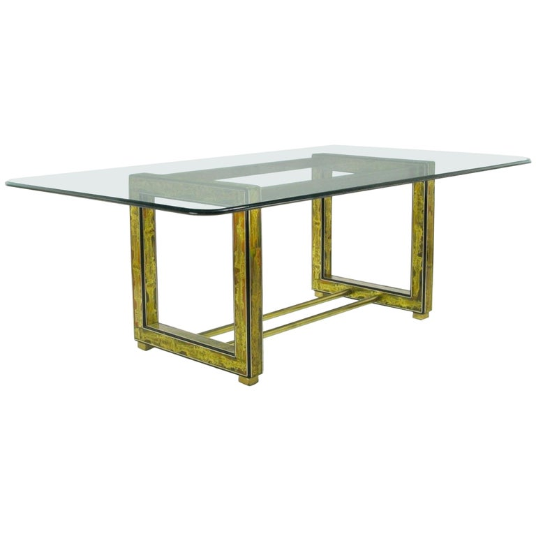 Bernhard Rohne for Mastercraft Mid-Century Modern Acid Etched Dining Table For Sale