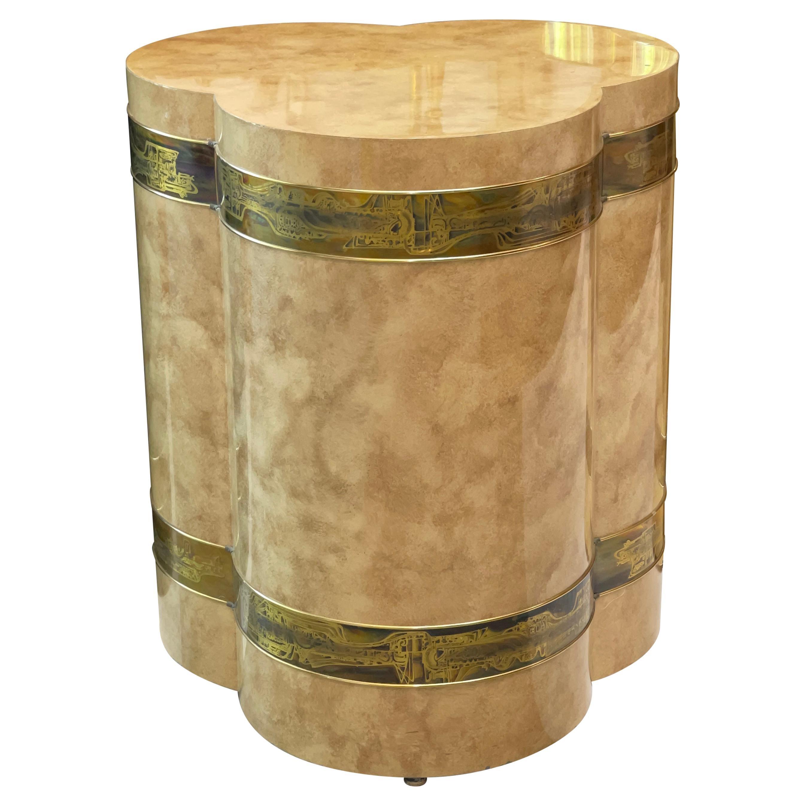 Bernhard Rohne for Mastercraft Trefoil Trifoliate Clover Pedestal Drum Table