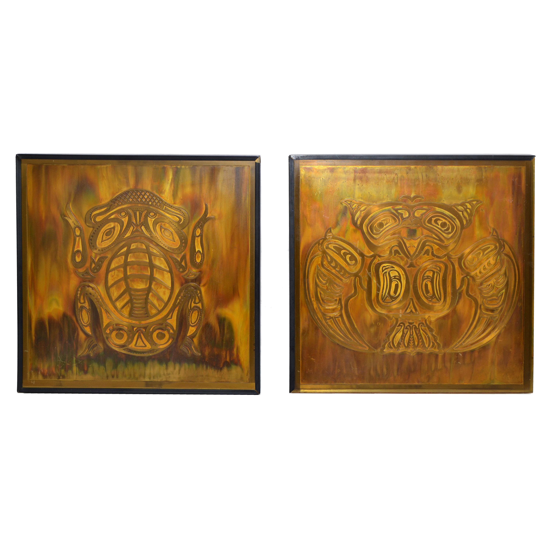 Bernhard Rohne Vintage Acid Etched Brass Owl & Frog Panel Framed Fine Art, Two