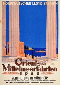 Original Vintage Poster Orient & Mediterranean Cruise Norddeutscher Lloyd Bremen