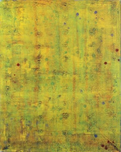 AWH 192 - Original Abstract Expressionist Yellow Green Colorfield Oil Painting
