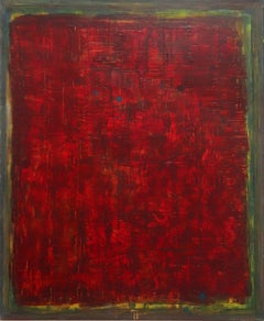 AWH 218 - Original Abstract Expressionist Red Colorfield Oil Painting