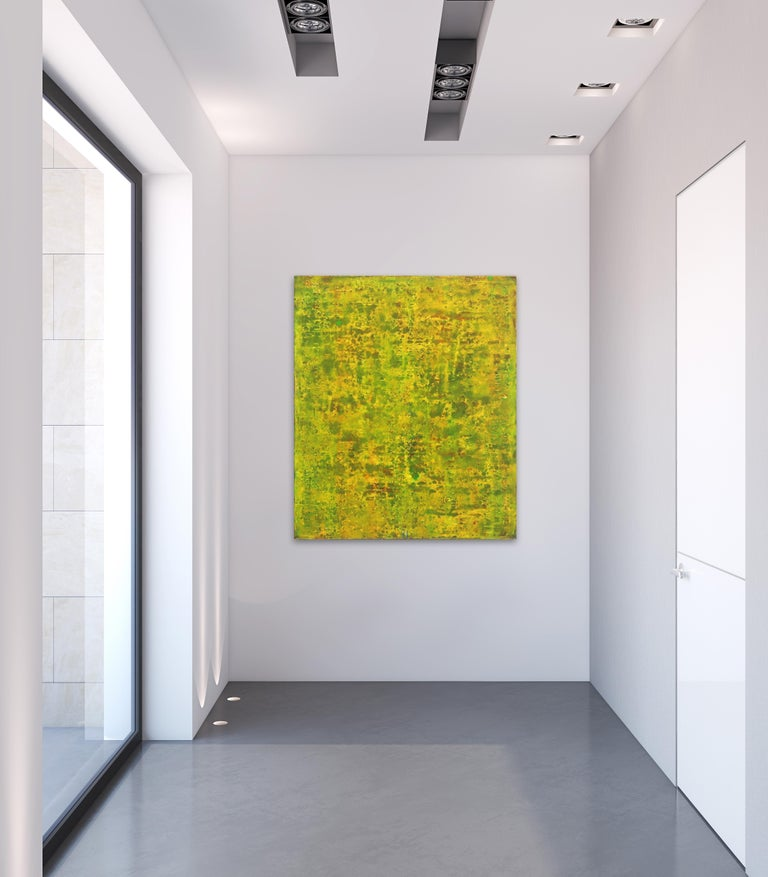 SE 33 - Original Abstract Expressionist Yellow Colorfield Oil Painting - Minimalist Mixed Media Art by Bernhard Zimmer