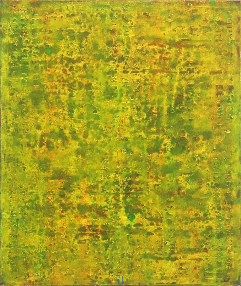 SE 33 - Original Abstract Expressionist Yellow Colorfield Oil Painting - Mixed Media Art by Bernhard Zimmer