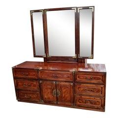 Bernhardt American Asian Campaign Mahogany Burl Dresser with Mirror