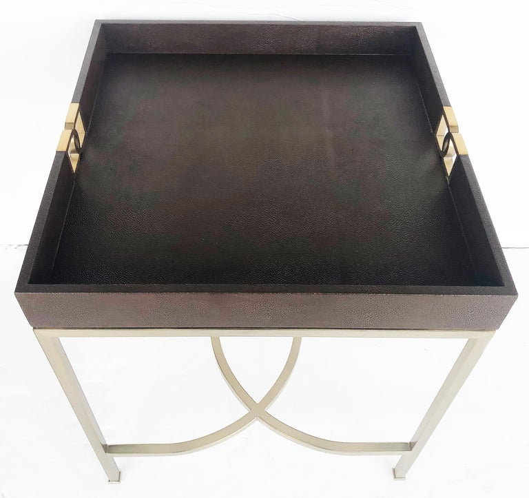 American Bernhardt Faux Shagreen and Brass Coffee Table in Chocolate