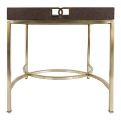 Bernhardt Faux Shagreen and Brass Coffee Table in Chocolate