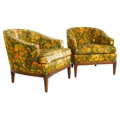 Bernhardt Flair Mid Century Walnut Upholstered Lounge Chairs, A Pair