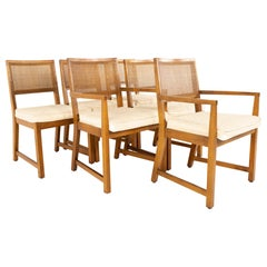 Bernhardt Furniture Mid Century Walnut and Cane Dining Chairs, Set of 6