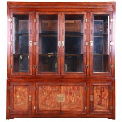 Bernhardt Hollywood Regency Chinoiserie Breakfront Bookcase or Bar Cabinet