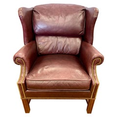 Bernhardt Leather with Nailheads George the III Wingback Reading Chair