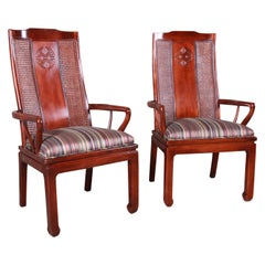 Bernhardt Mahogany and Cane Chinoiserie Armchairs, Pair