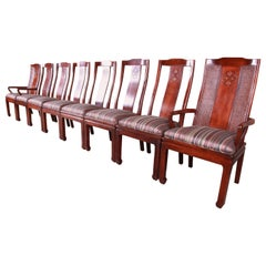 Bernhardt Mahogany and Cane Chinoiserie Dining Chairs, Set of Eight