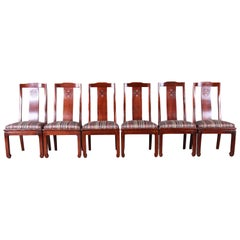 Bernhardt Mahogany Chinoiserie Dining Chairs, Set of Six