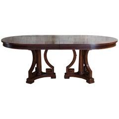 Bernhardt Mahogany Oval Extendable Dining Table Greek Key Art Deco Style